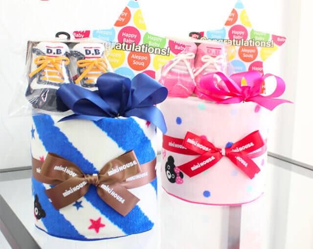 【ミキハウスダブルB】名前刺繍入りおむつケーキ