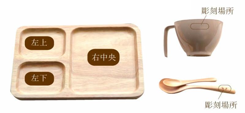 名前入り木製ランチプレートカップセット、名入れの様子